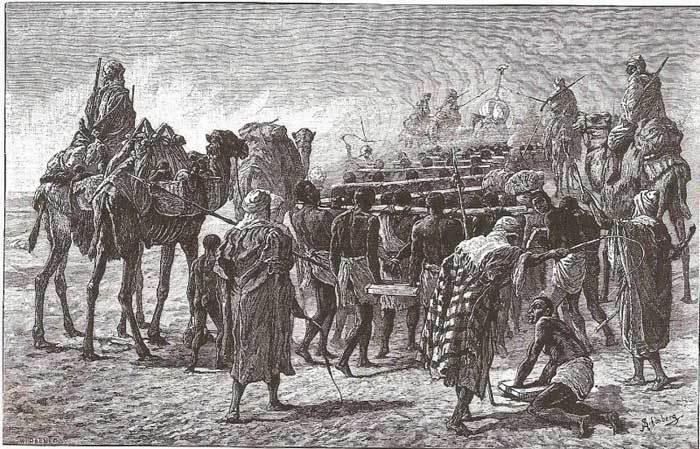 Des marchands arabes et des esclaves noirs traversant le Sahara