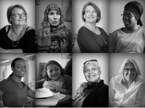 Portrait des intervenantes. En haut (de gauche à droite) : Ghislaine Durand, Karima Mondon, Annie Chaperon et Fatoumata Kebe. En bas : Aya Cissoko, Elisa Rojas, Fatima Abidallah-Chaabi et Béatrice Barbusse.