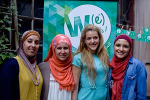 La team W(e) Talk : (de gauche à droite) : Jehan Lazrak-Toub, Nathalie Lafrie, Alix Heuer et Esra Tat.