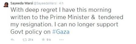 Gaza : une ministre britannique démissionne, le soutien des musulmans affiché