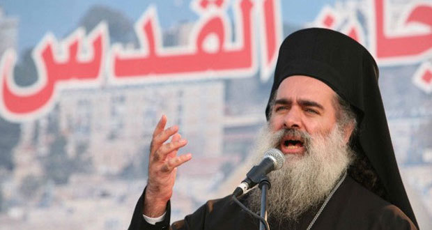 L'archevêque et métropolite Théodose de Sébaste, né Hanna Attallah, de l'Église grecque orthodoxe de Jérusalem.