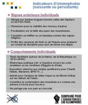 Affiche en réponse au document stigmatisant du rectorat de Poitiers.