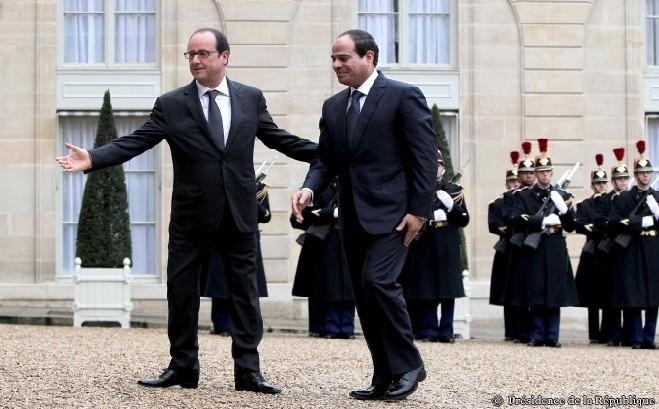 François Hollande a accueilli le président égyptien Abdel Fattah al-Sissi lors de son passage à Paris mercredi 28 novembre.