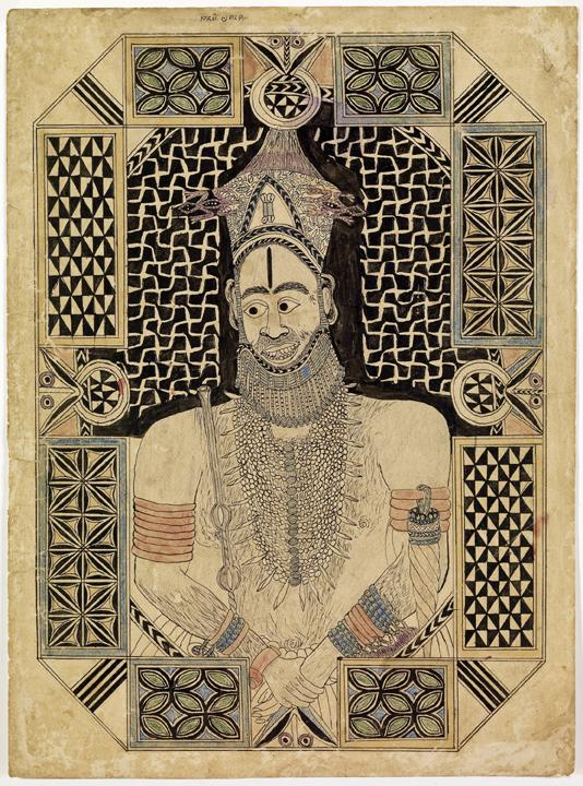 Portrait royal, encre sur papier, première moitié du XXe siècle. Donation C. et R. Jouslin de Noray.