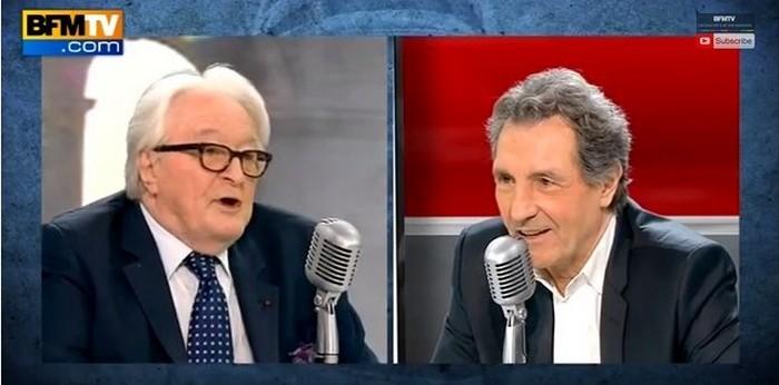 Valls « sous influence juive », Roland Dumas (à g.) face à Jean-Jacques Bourdin lundi 16 février dans une interview.
