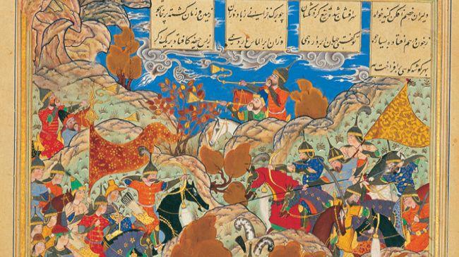 Scène de bataille entre Timur et le roi égyptien, miniature persane de Behzad, 1515, conservée au Palais du Golestan, à Téhéran.