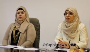 Elsa Ray, porte-parole du CCIF (à g.), et Lila Charef, la responsable juridique. © Saphirnews / HBR