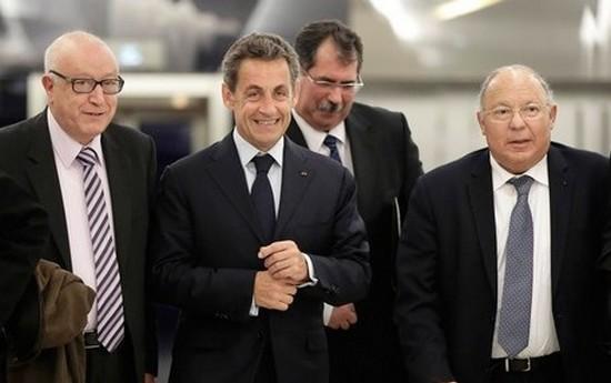 En janvier 2015, Nicolas Sarkozy a rencontré à Paris les membres du CFCM. Le 4 mars, le président de l'UMP est allé à la rencontre de l'instance musulmane à la Grande Mosquée de Paris. ©V.ISORE-IP3