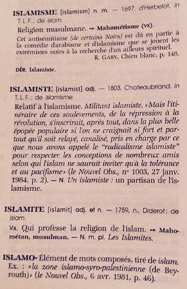 La définition de l'islamisme dans Le Grand Robert (éd. 2001).