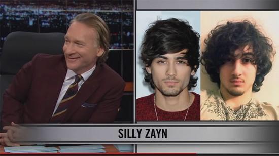Zayn Malik, ex des One Direction, a été comparé à un des auteurs présumés de l'attentat du marathon de Boston par le célèbre présentateur américain Bill Maher.