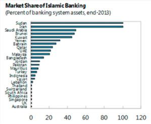 Le Soudan, l'Iran, l'Arabie Saoudite, le Brunei et le Koweït font partie du top 5 des pays dont la finance islamique détient plus de 50 % de part de marché. (source : FMI)