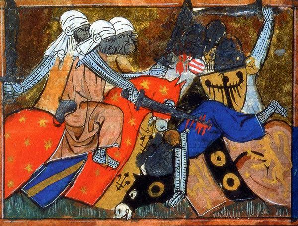 L'islam n'a pas l'apanage de la violence. Les guerres de religion, les guerres coloniales et les guerres civiles ont été menées, elles aussi, au nom d'une croyance religieuse et d'une idéologie politique. Ce tableau représente l'armée de Saladin, qui, en 1187, défait les armées chrétiennes et reprend Jérusalem. Le siège du royaume de Jérusalem est installé à Saint-Jean-d'Acre en 1229.