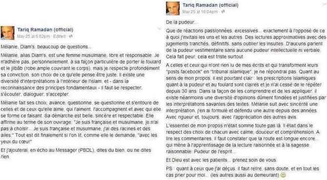 Tariq Ramadan « n'adhère pas » au voile portée par l'ex-rappeuse Diam's (1), il répond aux critiques (2).