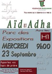 La première affiche annonçait la prière de l'Aïd pour le 23 septembre. Elle a depuis été modifiée.