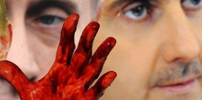 « Opération César », un témoignage accablant contre les exactions de Bachar Al-Assad commises contre son peuple. Cette photo a été prise lors d'une opération d'Avaaz devant le Conseil de sécurité de l'ONU en 2012 pour dénoncer les crimes du régime syrien et le soutien russe. Les comédiens avaient alors été recouverts de faux sang.