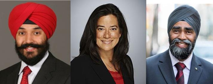 Navdeep Bains (à gauche) et Harjit Sajjan, nommés ministres du gouvernement Trudeau. Ils ne sont pas les premiers sikhs à accéder à de si hautes fonctions mais sont plus nombreux. Au centre, Jody Wilson-Raybould est devenue ministre de la Justice, la première autochtone à accéder à une telle fonction dans l'histoire du Canada.