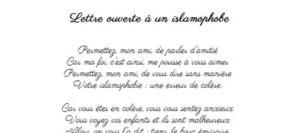Lettre ouverte à un islamophobe