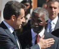 Nicolas Sarkozy et son homologue Sud-Africain