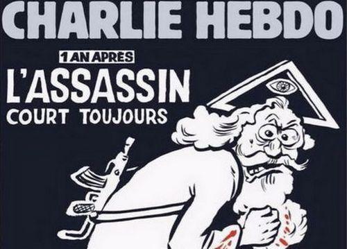 La Une controversée du numéro spécial de Charlie Hebdo un an après les attentats contre la rédaction.