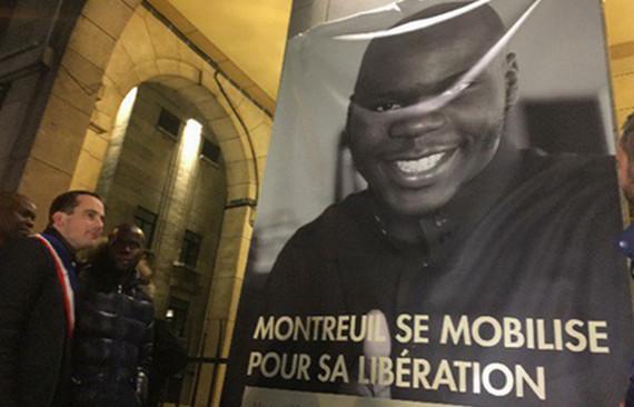 Le portrait de Moussa Ibn Yacoub - Puemo Tchantchuing de son vrai nom - a été déployé sur le fronton de la mairie de Montreuil samedi 24 janvier.