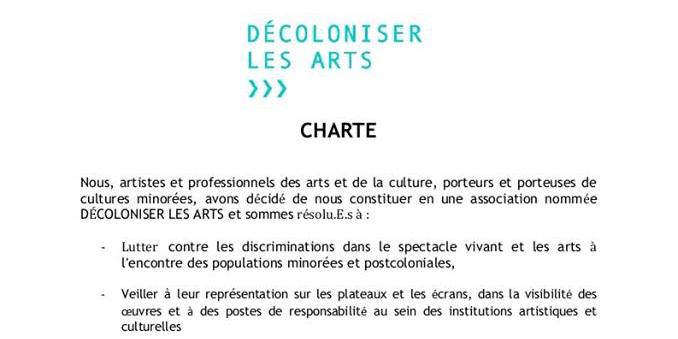 Extrait de la charte de « Décoloniser les arts », un collectif d'artistes et intellectuels engagés contre les discriminations.