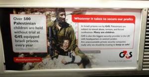Une affiche contre G4S, qui sécurise les prisons israéliennes dans lesquelles sont détenus plus de 500 enfants palestiniens sans procès.
