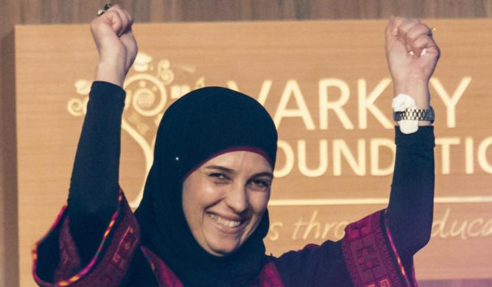 Hanan al-Hroub a été récompensée pour ses méthodes ludiques face aux violences de la guerre. © Fondation Varkey