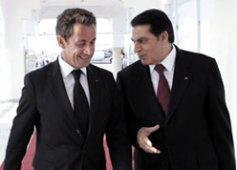 Nicolas Sarkozy en compagnie de son homologue tunisien Zine el Abidine Ben Ali