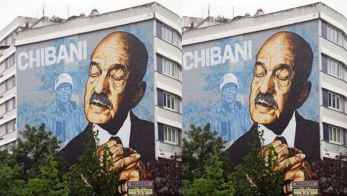 Un portrait en hommage aux chibanis a été peint par l'artiste Vince sur la façade d'un immeuble à Malakoff. © Vince