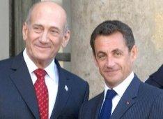 Le Premier ministre israélien Ehoud Olmert et Nicolas Sarkozy