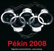 Affiche de campagne contre les jeux olympiques de Pékin menée par Reporters sans frontières