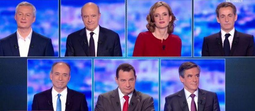 Les sept candidats à la primaire de la droite et du centre se sont affrontés dans un premier grand débat organisé le 13 octobre par TF1, RTL et Le Figaro. © TF1