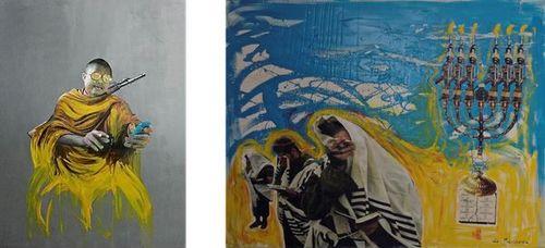 « Bling Bling Buddhist » à gauche, « Tu ne tueras point » à droite, par Sonia Merazga.