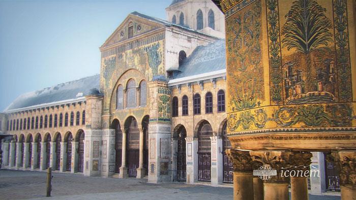 Classée au patrimoine mondial de l'Unesco depuis 1979, la Grande Mosquée des Omeyyades (VIIIe siècle), située à Damas (Syrie), est depuis 2013 sur la liste du patrimoine en péril. Elle est à découvrir en réalité augmentée à l'exposition « Sites éternels », au Grand Palais. (Photo © Iconem / DGAM)