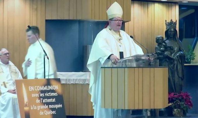 Une messe en hommage aux victimes de l'attentat contre le CCIQ a été célébrée mardi 31 janvier par l'archevêque de Québec Gérald Cyprien Lacroix, ici à l'image. © ECDQ