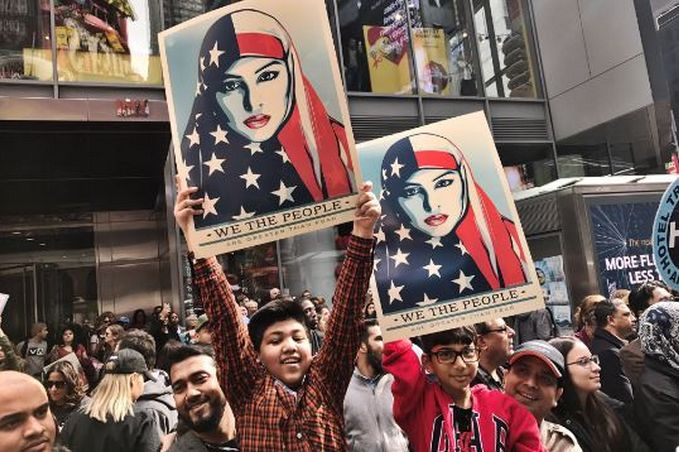 Manifestation à Time Square (New York) dimanche 19 février 2017 - © I am Muslim too
