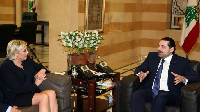 Marine Le Pen à la rencontre du Premier ministre libanais Saad Hariri.