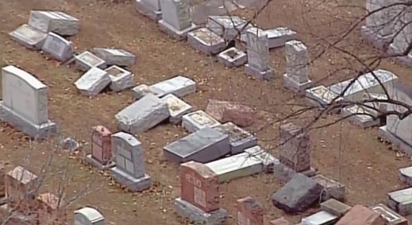 Cimetière Chesed Shel Emeth (Missouri), après profanation des tombes