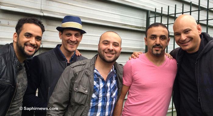 Les comédiens de la pièce de « Djihad » qui ont joué en Belgique (de g. à dr.) : Samir Kadi (le prof d'arabe) ; James Deano (Ben) ; Ismaël Saidi (auteur de la pièce, joue le rôle d'Ismaël) ; Reda Chebchoubi (Reda) ; Shark Carrera (Michel). Ismael Saidi et Shark Carrera, ainsi que Audrey Devos, sont les interprètes de la nouvelle pièce « Géhenne », actuellement en tournée en Belgique.