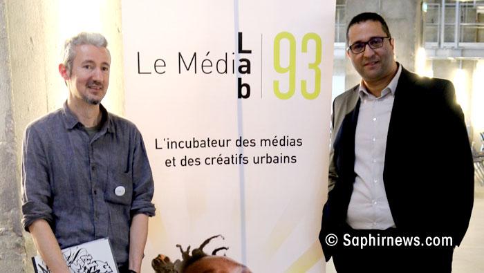 MédiaLab93 a été inauguré mardi 28 mars. Ici à l'image, Erwan Ruty et Farid Mebarki, à la tête de Presse & Cité et initiateurs de l'incubateur médiatique et culturel en Seine-Saint-Denis.