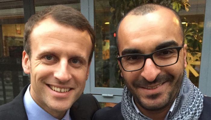 Emmanuel Macron aux côtés de Mohamed Saou, référent départemental dans le Val d'Oise pour le mouvement En Marche.