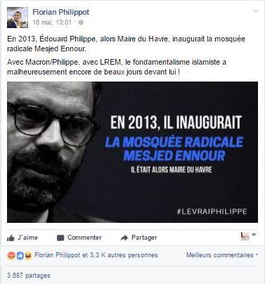 Capture d'écran du post de Florian Philippot, à charge contre le Premier ministre