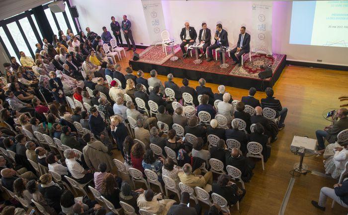 Présentation de la « Déclaration de Paris », 20 mai 2017, Pavillon Wagram, Paris De droite à gauche : Mustapha Abbani, Mohamed Benkhalifa, Cheikh Khaled Bentounes, Hamid Demmou. © Aisa, ASM