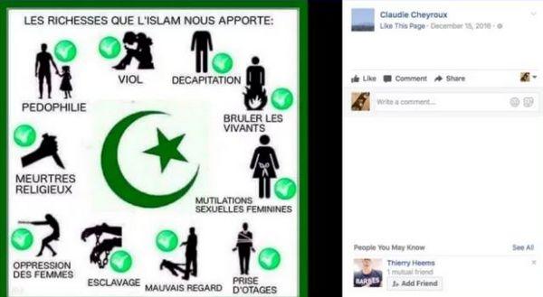 Le partage de Claudie Cheyroux, candidate du FN aux législatives dans les Pyrénées-Atlantiques.