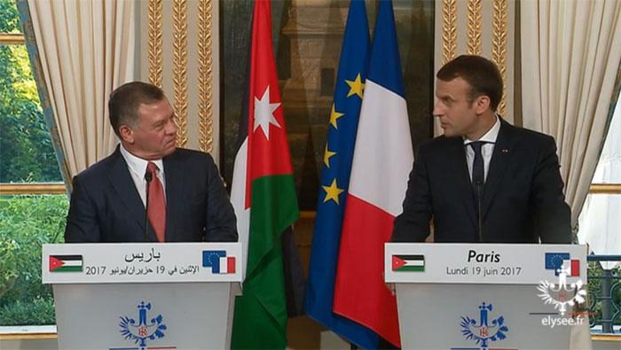 Le roi de Jordanie Abdallah II et le président français Emmanuel Macron.