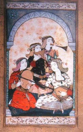Musiciens et leurs instruments de musique, miniature de Levni, XVIIIe s., palais de Topkapi.