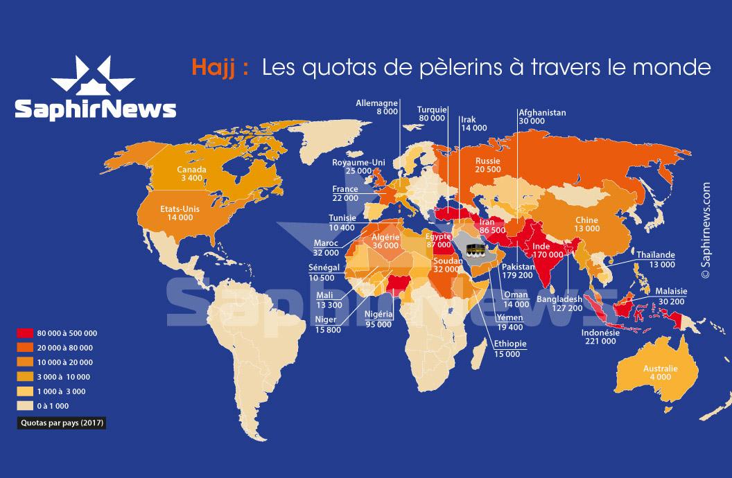 La carte des quotas de pèlerins au Hajj par pays en 2017 - Cliquez pour voir en plus grand.