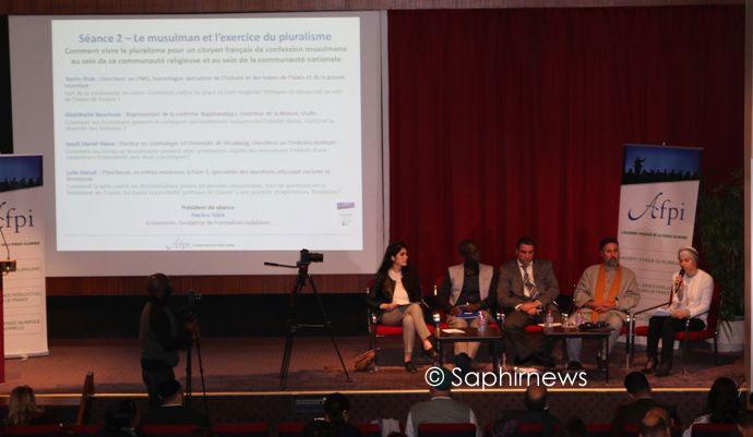Au 2e colloque des intellectuels musulmans francophones de l'AFPI, le 23 septembre. De gauche à droite : Leila Alaouf, Seydi Diamil Niane, Karim Ifrak, Abdelhafidh Benchouk et Nacera Taleb.