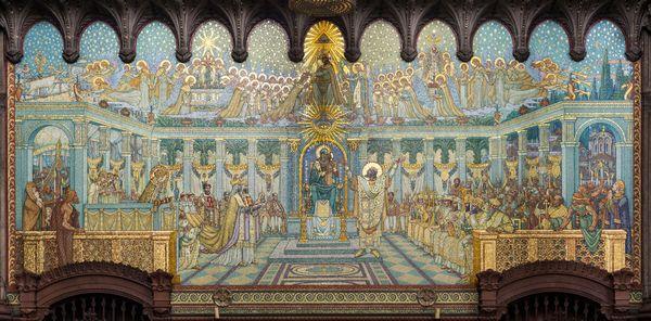 Fresque en mosaïques évoquant le concile d'Ephèse de 431 dans la Basilique Notre-Dame de Fourvière à Lyon.