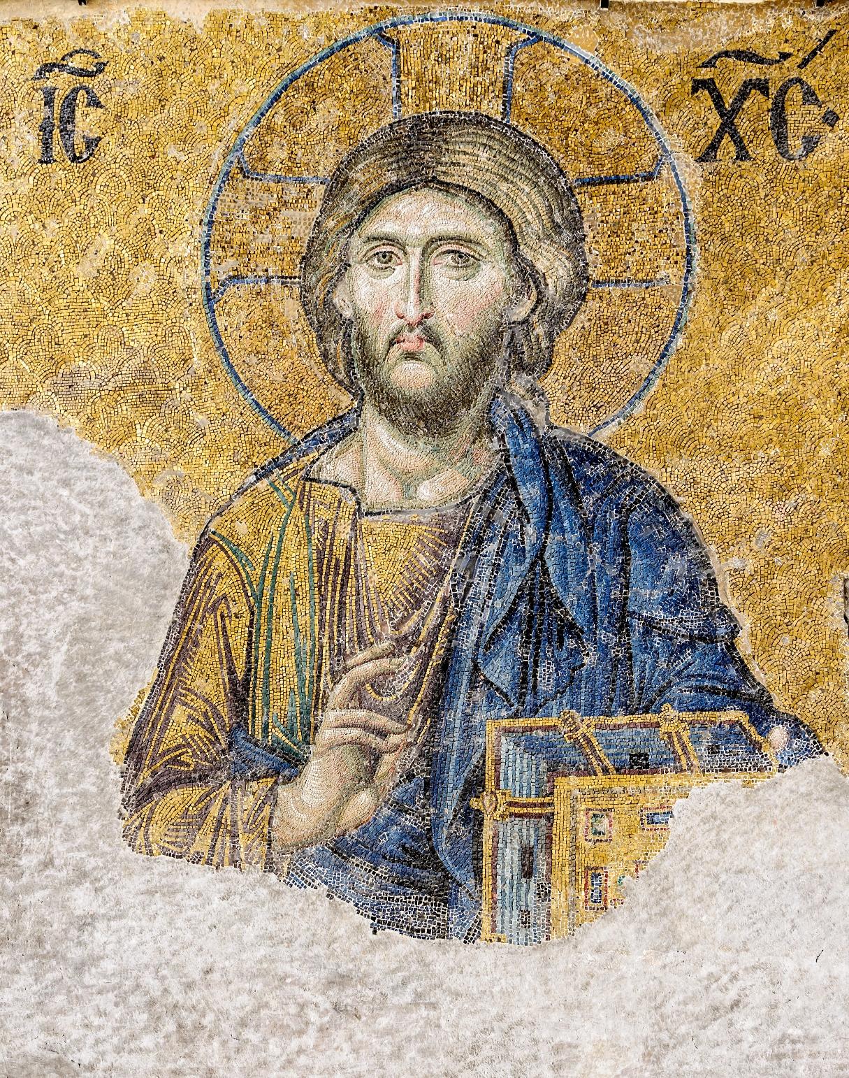 Mosaïque de Jésus dans la basilique de Sainte-Sophie à Istanbul